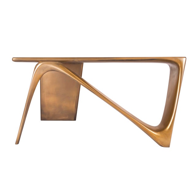 Amorph Astra Desk, L Shaped Desk Gold Finish For Sale