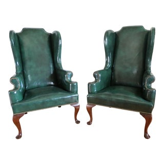 Chippendale Leather Mahagony Wingback Chairs - a Pair For Sale