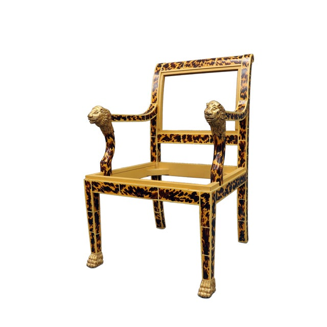 Hollywood Regency Vintage Mid Century Faux Tortoise Painted Arm Chair With Lion Head For Sale - Image 3 of 5