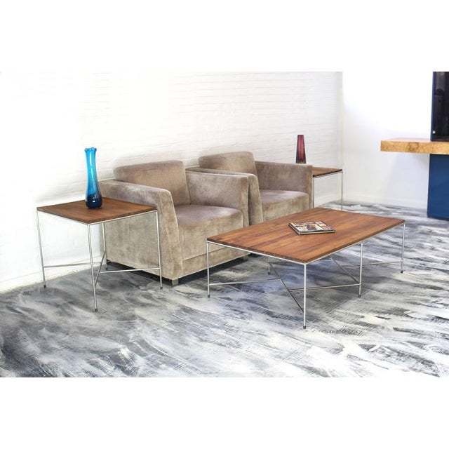 Metal Mid-Century Modern Z-Base Occasional Tables - a Pair For Sale - Image 7 of 11