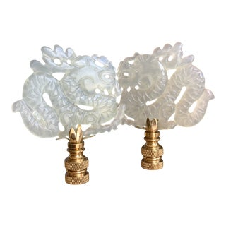 Hand Carved Jade Dragon Finials - a Pair For Sale