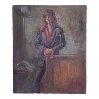 Vintage Oil Painting Standing Woman For Sale