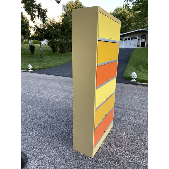 Vintage Mid Century Orange and Yellow Steel Tab Office Cabinets For Sale - Image 12 of 13