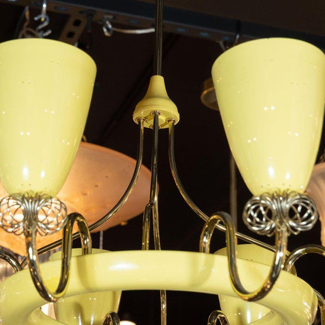 French Mid-Century Modern Brass and Yellow Enamel Eight-Arm Chandelier For Sale In New York - Image 6 of 7