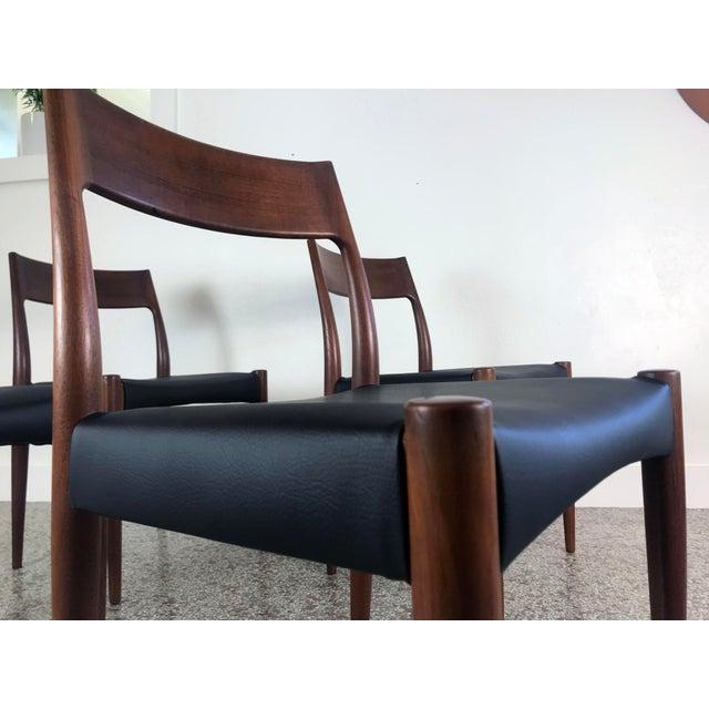 Black 1960s Vintage Arne Hovmand Olsen Danish Teak Dining Chairs - Set of 6 For Sale - Image 8 of 12
