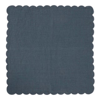 Once Milano Linen Scalloped Napkin in Stone Blue For Sale