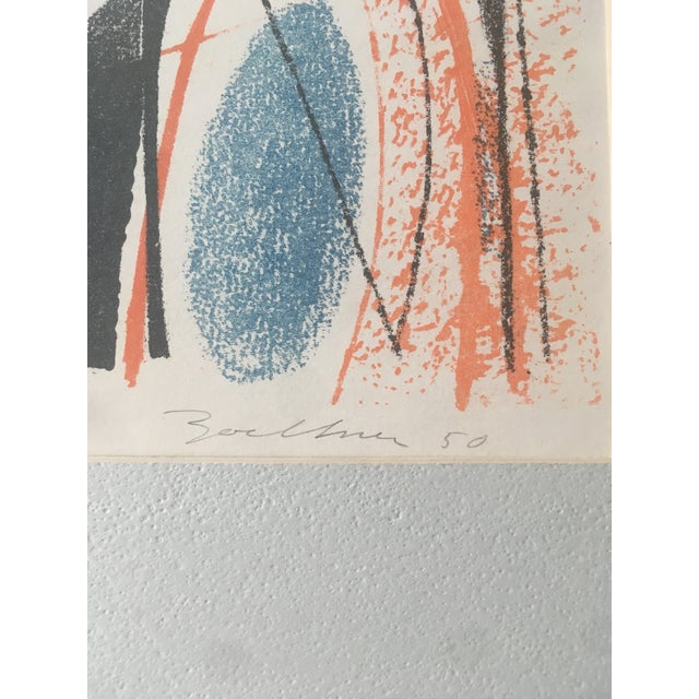 Cornflower Blue Vintage Mid-Century Richard Zoellner Abstract Woman Flower Lithograph Print For Sale - Image 8 of 13