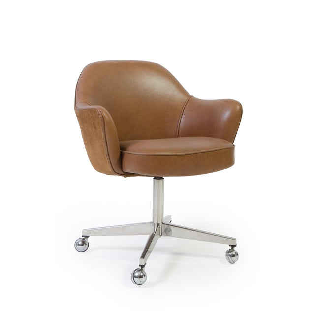 Saarinen for Knoll Saddle Leather & Suede Desk Chair - Image 2 of 9