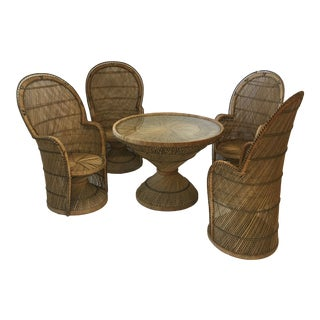 1970s Boho Chic Peacock Dining Set - 5 Pieces For Sale