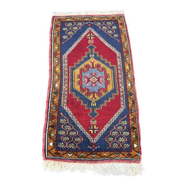 Vintage Turkish Handmade Rug - 1′7″ × 3′2″ For Sale
