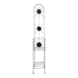 Late 20th Century Metal and Glass Sun Face Plant Stand For Sale