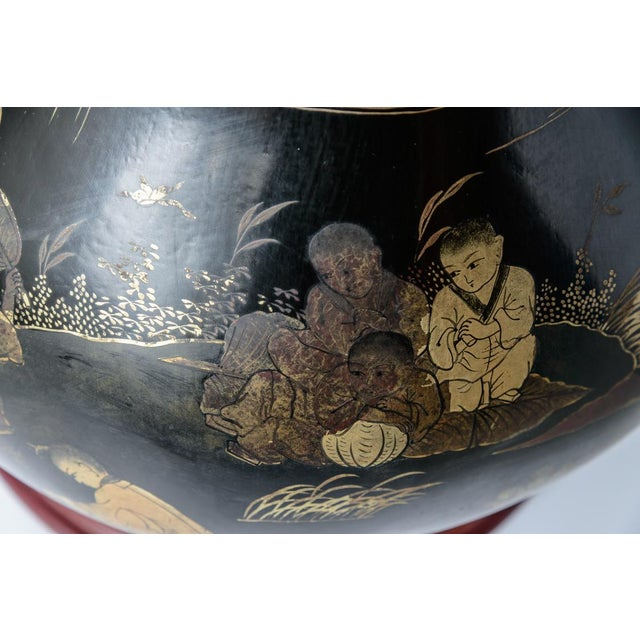 Pair of Antique Huge Chinoiserie Lacquer Urn Lamps C.1870-1890 For Sale In West Palm - Image 6 of 12