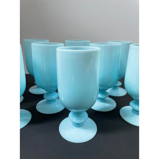 Glass 1930s Portieux Vallerysthal French Blue Opaline Cocktail / Low Stem Wine Glasses - Set of 9 For Sale - Image 7 of 13