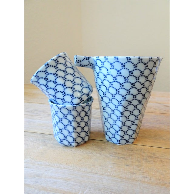 Blue Blue and White Sake Bottle and Cups - Set of 3 For Sale - Image 8 of 11