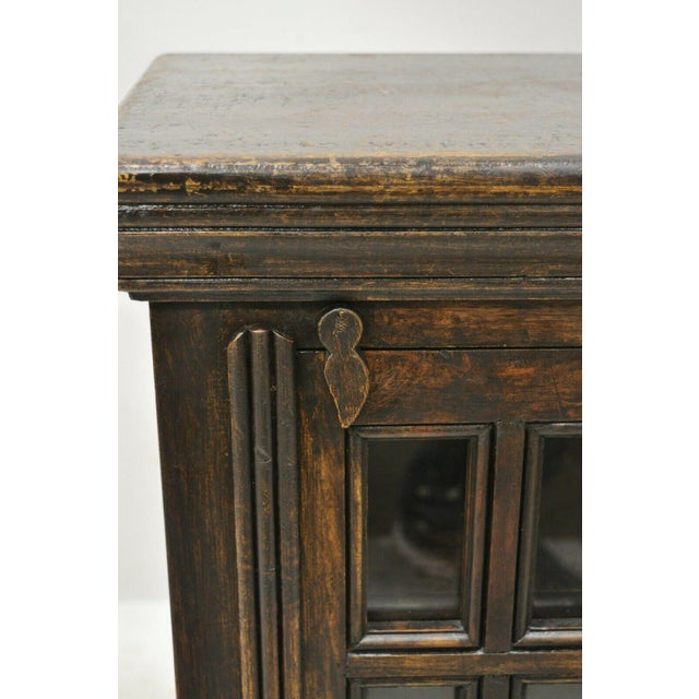 Vintage British Colonial Style Small One Door Wooden Curio Display Cabinet For Sale - Image 9 of 12