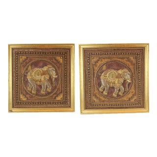 Pasargad DC Hand Made India Beaded Elephant Raised Wall Art - A Pair For Sale