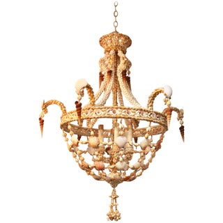 Hollywood Regency Seashell Encrusted Chandelier For Sale