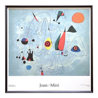 "Joan Miro Fundacio Vintage 1993 Lithograph Print Framed Centennial Exhibition Poster "" Woman and Birds at Daybreak "" 1946 For Sale"