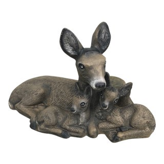 1960s Vintage Concrete Deer Garden Statue For Sale