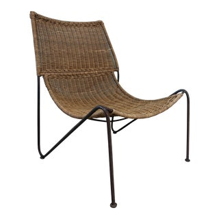 Mid-Century Modern Frederick Weinberg Wicker & Wrought Iron Lounge Chair For Sale