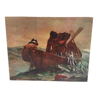 1960s Vintage Winslow Homer The Herring Net Stamp Board Lithograph Print For Sale