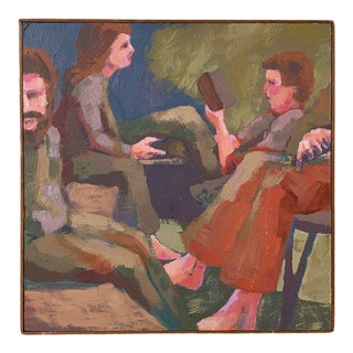 Vintage Framed Acrylic on Board Scene of Seated Figures, Circa 1970s For Sale