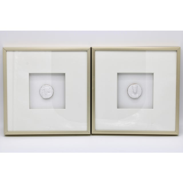 Egyptian Revival Gold Framed Intaglio Medallions - Set of Two For Sale In Tulsa - Image 6 of 12