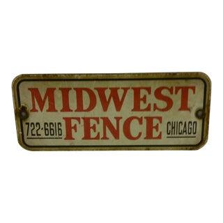 """Vintage -- """"Midwest Fence"""" Porcelain Sign For Sale"""