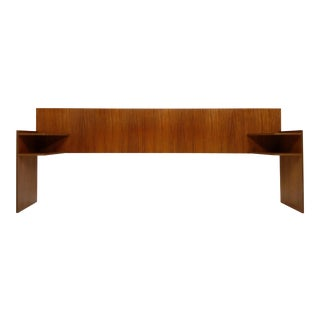 Queen Mid Century Modern Teak Headboard With Integrated Shelves For Sale