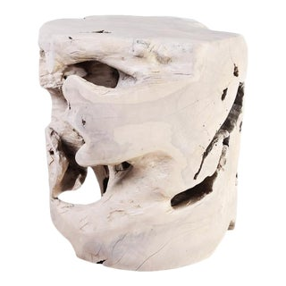Organic Modern Bleached Teak Root Accent Table For Sale