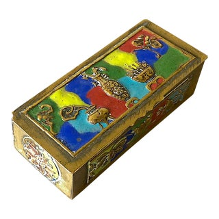 Art Deco Chinese Enameled Brass Pill Box For Sale