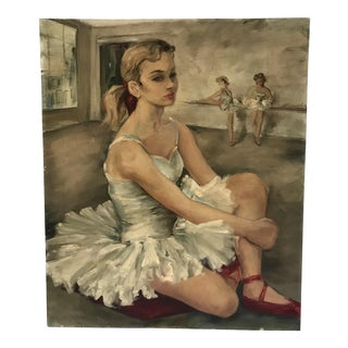 Mid 20th Century Vintage Portrait Ballet Dancers Painting on Canvas
