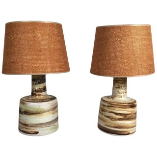 Mid-Century Modern Martz Hand Painted Art Pottery Lamps - a Pair For Sale