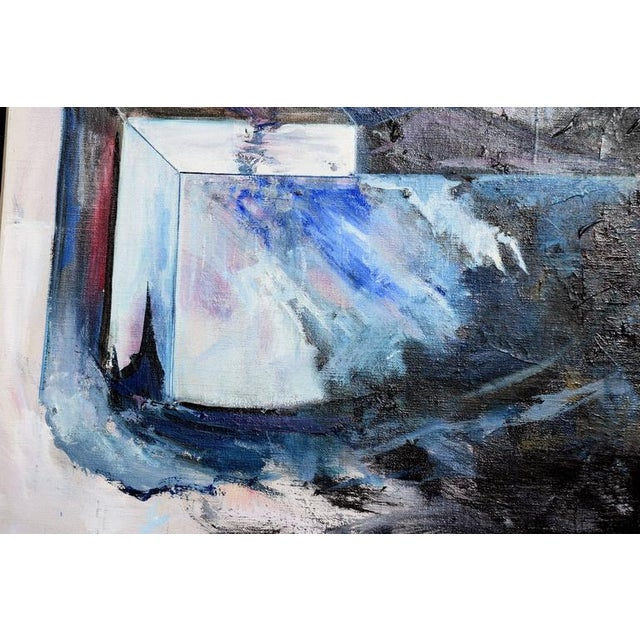 Blue & Black Abstract Expressionist Painting - Image 4 of 5