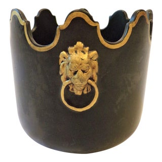 Vintage Italian Black Monteith Basalt Neoclassical Cachepot For Sale