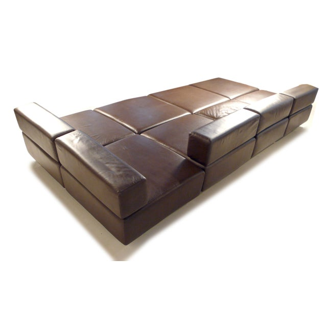 Harvey Probber Chocolate Brown Leather 'Cubo' Sectional Sofa - Image 7 of 9