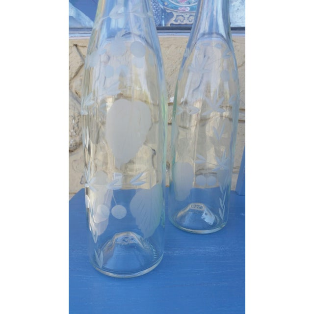 Etched Glass Water Bottles - A Pair - Image 4 of 4