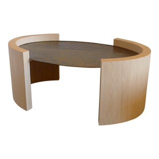 Paul Marra Oval Oak and Hand Hammered Steel Cocktail Table For Sale