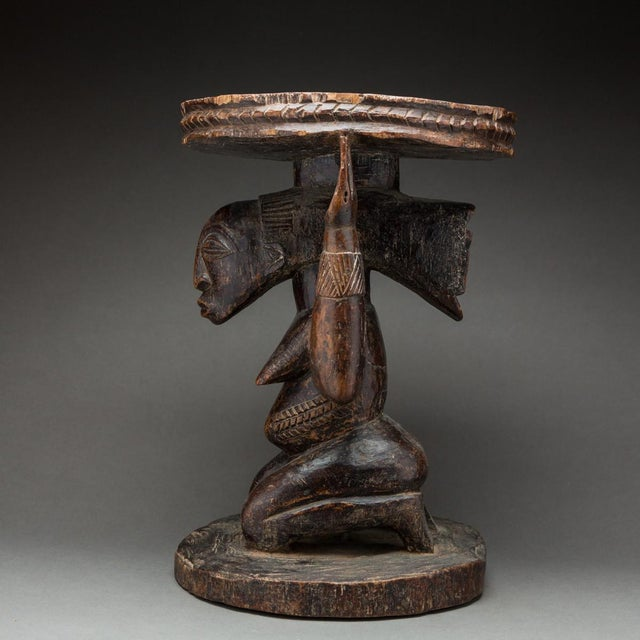 African Hemba Wooden Caryatid Stool For Sale - Image 3 of 5