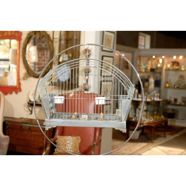 1940s Hendryx American Art Deco Bird Cage on Stand For Sale - Image 5 of 5