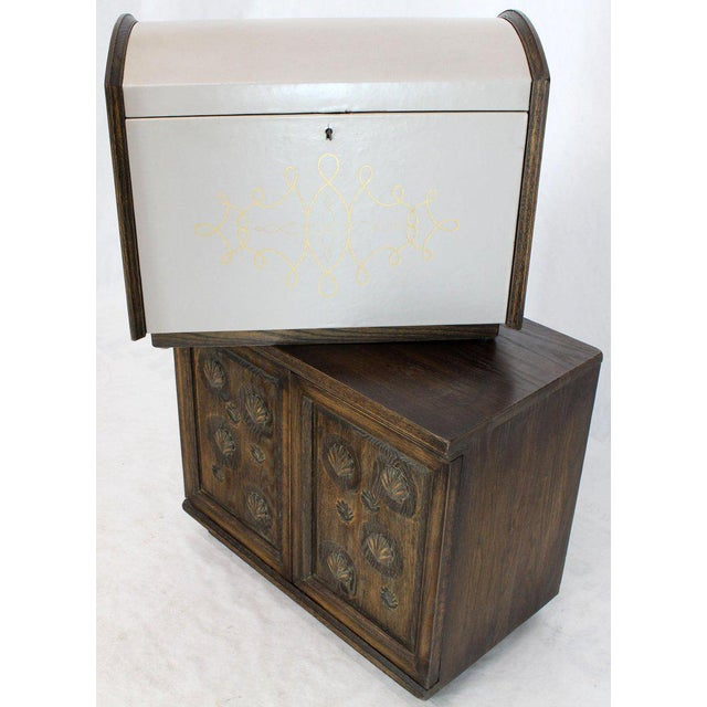 White Cerused Carved Scallop Oak Leather Wrapped Campaign Portable Secretary Desk For Sale - Image 8 of 13