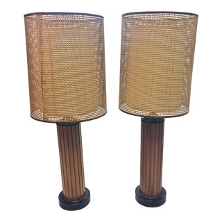 Mid Century Danish Modern Wood Table Lamps - A Pair