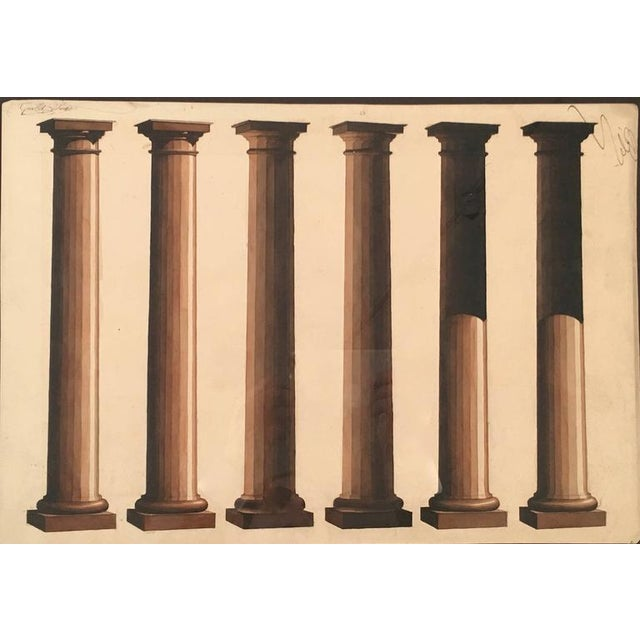 Late 19th Century Neoclassical Architectural Watercolor Study of Shadows on Columns For Sale - Image 5 of 8