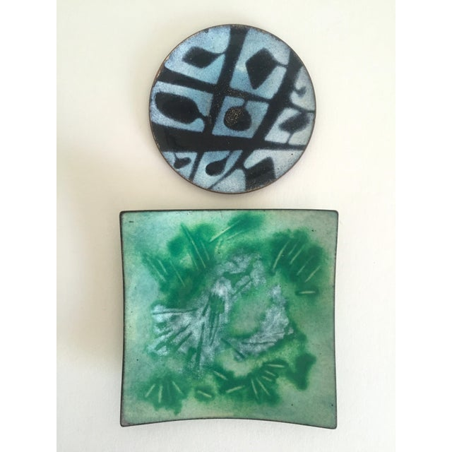Mid-Century Copper & Enamel Plates - A Pair For Sale - Image 9 of 10