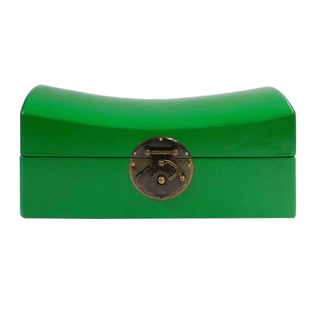 Chinese Green Pillow Shaped Box For Sale