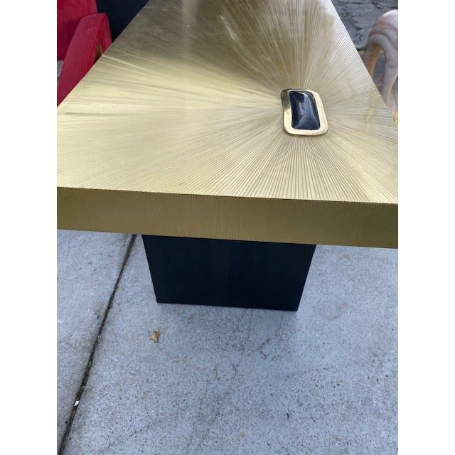 1960s Modern Soleil Brass Console Table For Sale - Image 4 of 9