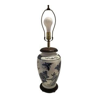 1980s Vintage Asian Blue & White Cherry Blossom Lamp For Sale
