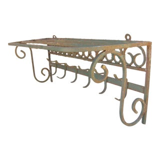 Antique French Iron Coat Rack For Sale
