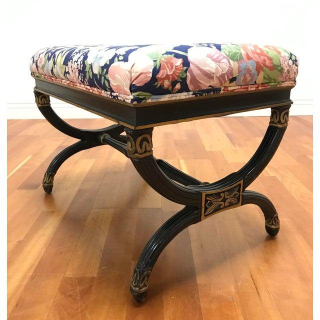Hollywood Regency Vintage Hollywood Regency X Form Stool Bench Karges For Sale - Image 3 of 6