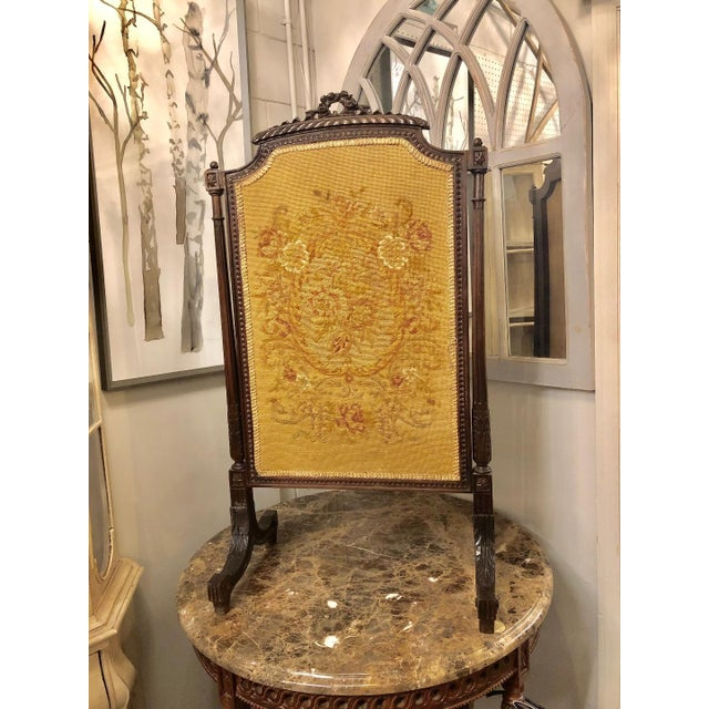 Oak French Louis XVI Carved Oak Fireplace Screen For Sale - Image 7 of 7